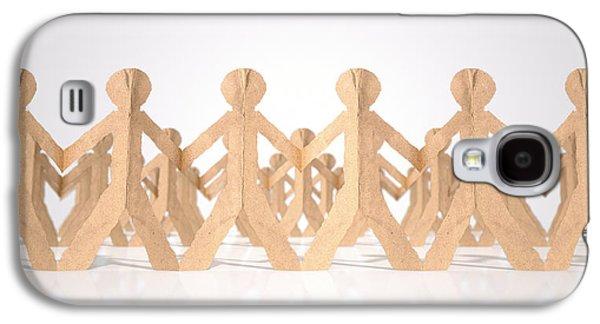 Cardboard Galaxy S4 Cases - Crowd Of Cutout Paper Cardboard Men Galaxy S4 Case by Allan Swart
