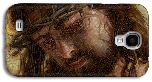 Jesus Art Galaxy S4 Cases - Crown of Thorns Glass Mosaic Galaxy S4 Case by Mia Tavonatti