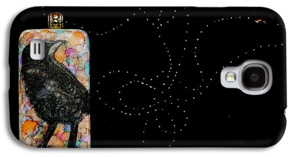 Animals Jewelry Galaxy S4 Cases - Crows Eye Domino Pendant Galaxy S4 Case by Beverley Harper Tinsley