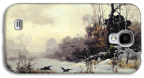 Slush Galaxy S4 Cases - Crows in a Winter Landscape Galaxy S4 Case by Karl Kustner