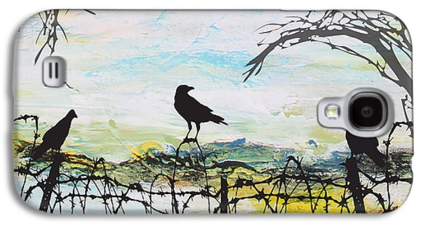 Crows Black Paintings Galaxy S4 Cases - Crows on Fence Line-JP2486 Galaxy S4 Case by Jean Plout