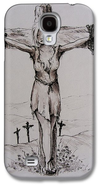 Crucifixtion Galaxy S4 Cases - Crucified with Christ Galaxy S4 Case by Rachel Christine Nowicki