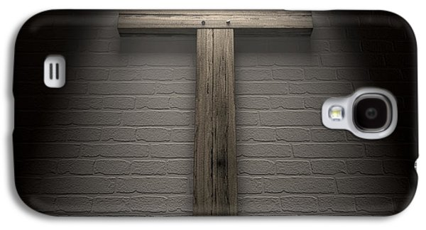 The Wooden Cross Galaxy S4 Cases - Crucifix On A Wall Under Spotlight Galaxy S4 Case by Allan Swart