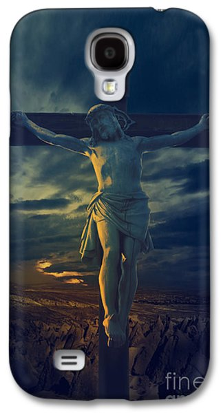 Light Pyrography Galaxy S4 Cases - Crucifixcion Galaxy S4 Case by Jelena Jovanovic