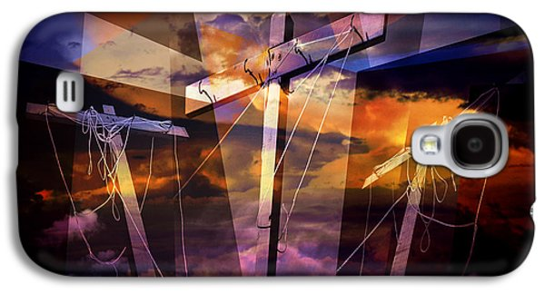 Crucifixtion Galaxy S4 Cases - Crucifixion Crosses Composition from Clotheslines Galaxy S4 Case by Randall Nyhof