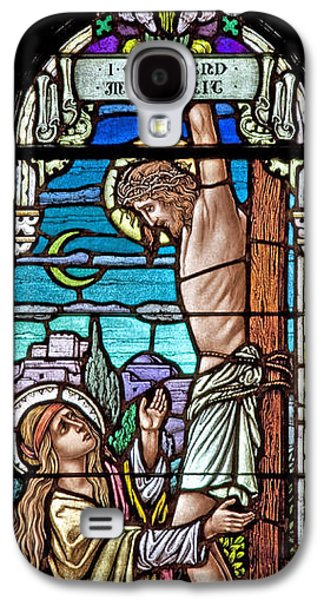 Religious Glass Art Galaxy S4 Cases - Crucifixion of Christ Galaxy S4 Case by Mountain Dreams