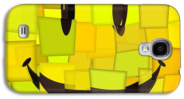 Smiling Mixed Media Galaxy S4 Cases - Cubism Smiley Face Galaxy S4 Case by Dan Sproul