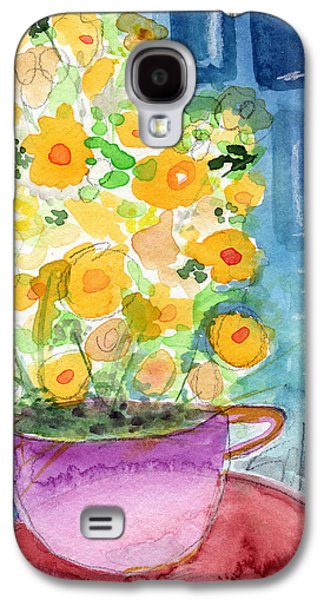 Still Life Mixed Media Galaxy S4 Cases - Cup of Yellow Flowers- abstract floral painting Galaxy S4 Case by Linda Woods