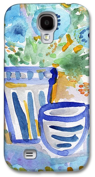 Still Life Mixed Media Galaxy S4 Cases - Cups and Flowers-  watercolor floral painting Galaxy S4 Case by Linda Woods