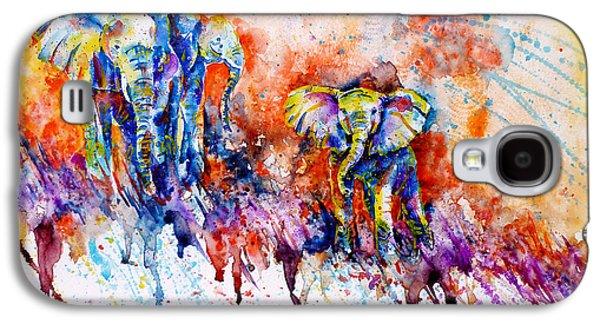 Beauty Paintings Galaxy S4 Cases - Curious Baby Elephant Galaxy S4 Case by Zaira Dzhaubaeva