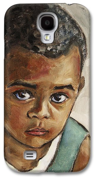 African-american Galaxy S4 Cases - Curious Little Boy Galaxy S4 Case by Xueling Zou