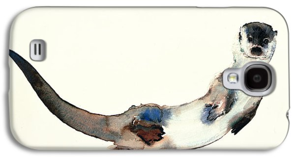 Nature Study Paintings Galaxy S4 Cases - Curious Otter Galaxy S4 Case by Mark Adlington