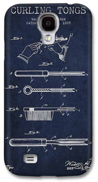 Drawing Galaxy S4 Cases - Curling Tongs patent from 1889 - Navy Blue Galaxy S4 Case by Aged Pixel