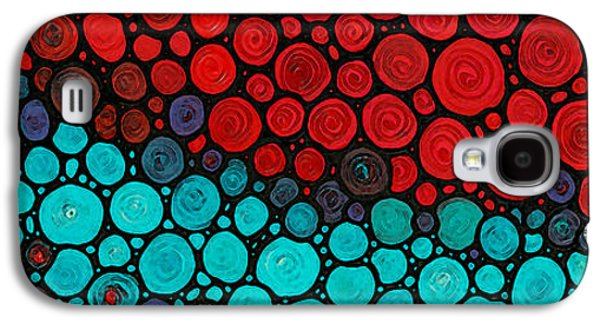 Mosaic Galaxy S4 Cases - Currents - Red Aqua Art by Sharon Cummings Galaxy S4 Case by Sharon Cummings