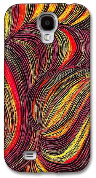 Business Drawings Galaxy S4 Cases - Curved Lines 3 Galaxy S4 Case by Sarah Loft