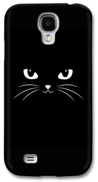 Recently Sold -  - Dogs Digital Galaxy S4 Cases - Cute Black Cat Galaxy S4 Case by Philipp Rietz