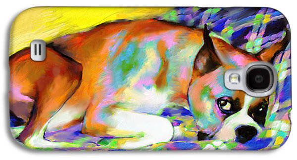 Boxer Galaxy S4 Cases - Cute Boxer Dog portrait painting Galaxy S4 Case by Svetlana Novikova