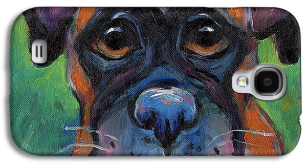 Boxer Dog Galaxy S4 Cases - Cute Boxer puppy dog with big eyes painting Galaxy S4 Case by Svetlana Novikova