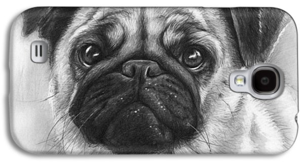 Drawing Drawings Galaxy S4 Cases - Cute Pug Galaxy S4 Case by Olga Shvartsur