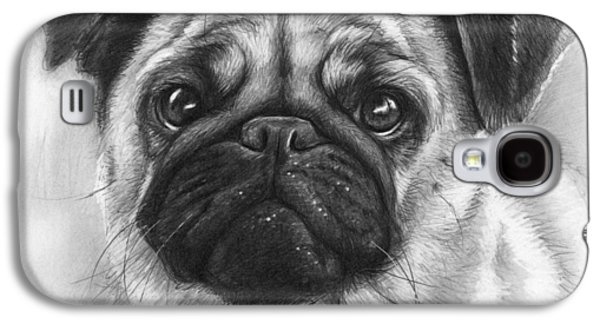 Black Drawings Galaxy S4 Cases - Cute Pug Galaxy S4 Case by Olga Shvartsur