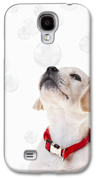 Puppies Galaxy S4 Cases - Cute puppy with a soap bubble on his nose. Galaxy S4 Case by Diane Diederich
