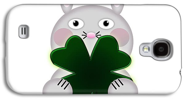 Shelley Irish Galaxy S4 Cases - Cute St. Patricks Day Bunny Proud to be Irish Galaxy S4 Case by Shelley Neff