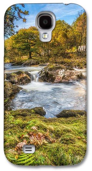 Autumn Landscape Digital Art Galaxy S4 Cases - Cyfyng Falls Galaxy S4 Case by Adrian Evans