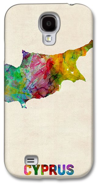 Maps Galaxy S4 Cases - Cyprus Watercolor Map Galaxy S4 Case by Michael Tompsett