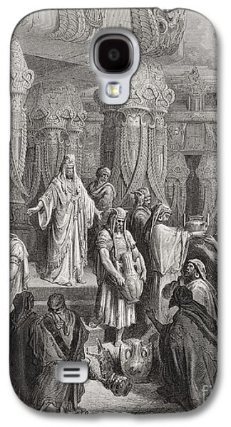 Religious Drawings Galaxy S4 Cases - Cyrus Restoring the Vessels of the Temple Galaxy S4 Case by Gustave Dore