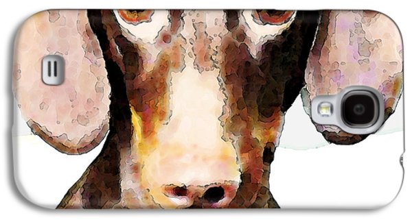 Dachshund Digital Art Galaxy S4 Cases - Dachshund Art - Roxie Doxie Galaxy S4 Case by Sharon Cummings