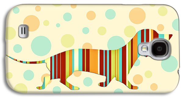 Dachshund Fun Colorful Abstract Galaxy S4 Case by Natalie Kinnear