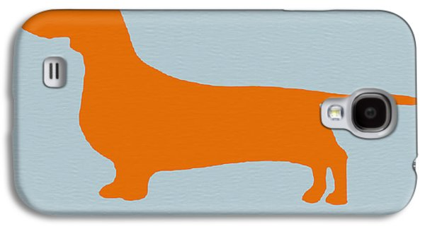 Dogs Mixed Media Galaxy S4 Cases - Dachshund Orange Galaxy S4 Case by Naxart Studio