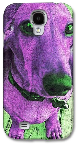 Dachshund Digital Galaxy S4 Cases - Dachshund - Purple People Greeter Galaxy S4 Case by Rebecca Korpita
