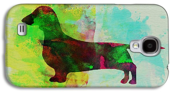 Puppy Paintings Galaxy S4 Cases - Dachshund Watercolor Galaxy S4 Case by Naxart Studio