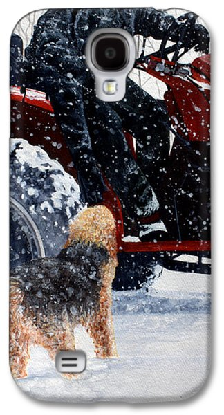 Dogs In Snow. Paintings Galaxy S4 Cases - Dad and Cooper-Best of Show Galaxy S4 Case by Kimberly Shinn