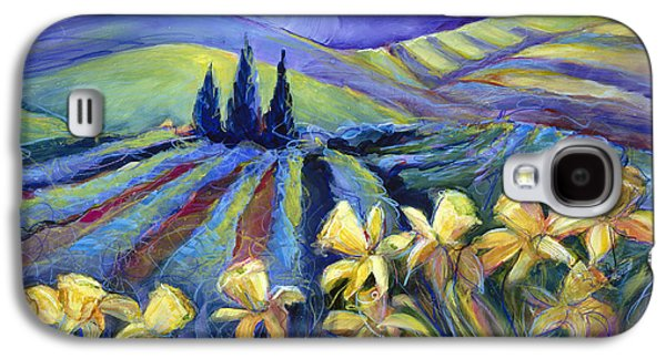 Storms Paintings Galaxy S4 Cases - Daffodils and Stormclouds Galaxy S4 Case by Jen Norton