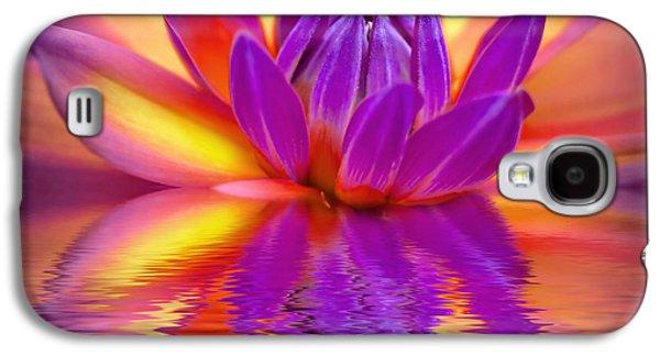 Flora Mixed Media Galaxy S4 Cases - Dahlia Galaxy S4 Case by Photodream Art