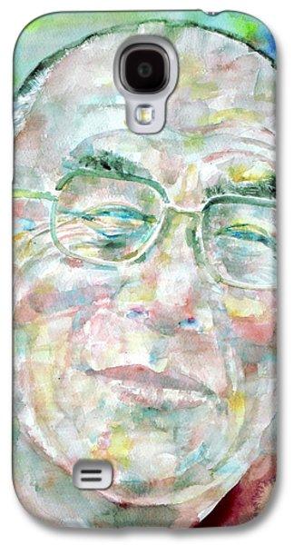 Tibetan Buddhism Galaxy S4 Cases - DALAI LAMA - watercolor portrait Galaxy S4 Case by Fabrizio Cassetta