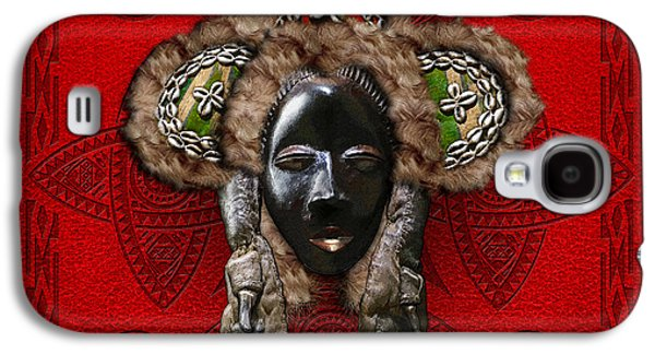 African Heritage Galaxy S4 Cases - Dan Dean-Gle Mask of the Ivory Coast and Liberia on Red Leather Galaxy S4 Case by Serge Averbukh
