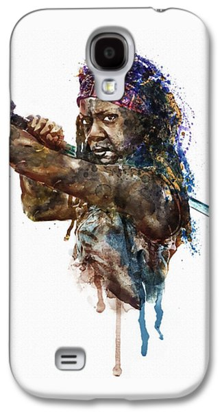 African-american Galaxy S4 Cases - Danai Jekesai Gurira as Michonne Galaxy S4 Case by Marian Voicu
