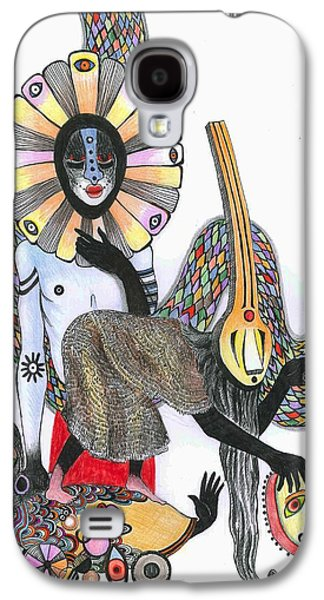 Figure Drawing Galaxy S4 Cases - Dance Of The Masks, 2012 Pen, Ink And Colour Pencils On Paper Galaxy S4 Case by Zanara/ Sabina Nedelcheva-Williams
