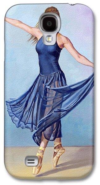 Figures Paintings Galaxy S4 Cases - Dancer in Dark Blue Galaxy S4 Case by Paul Krapf
