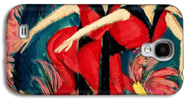 Two Colors Paintings Galaxy S4 Cases - Dancers in Red Galaxy S4 Case by Ernst Ludwig Kirchner