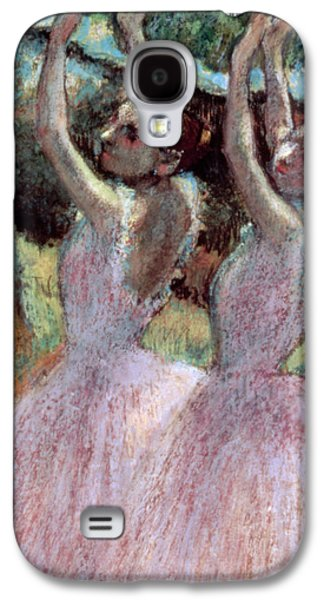 Tutus Paintings Galaxy S4 Cases - Dancers in violet dresses Galaxy S4 Case by Edgar Degas