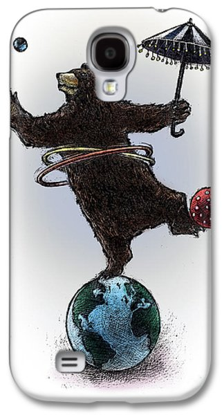 Juggling Drawings Galaxy S4 Cases - Dancing Bear Galaxy S4 Case by Chris Van Es