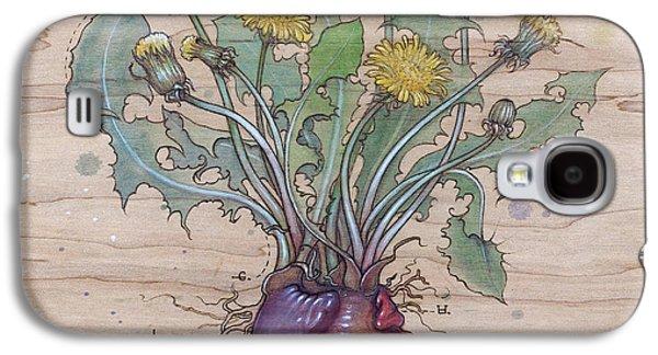 Biology Pyrography Galaxy S4 Cases - Dandelion Heart Galaxy S4 Case by Fay Helfer