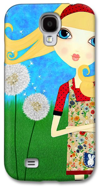 Little Girls Mixed Media Galaxy S4 Cases - Dandelion Wishes Galaxy S4 Case by Laura Bell