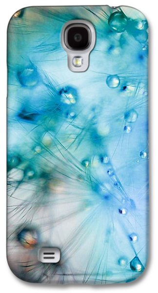 Modern Abstract Photographs Galaxy S4 Cases - Winter - Dandelion with Water Droplets Abstract Galaxy S4 Case by Marianna Mills