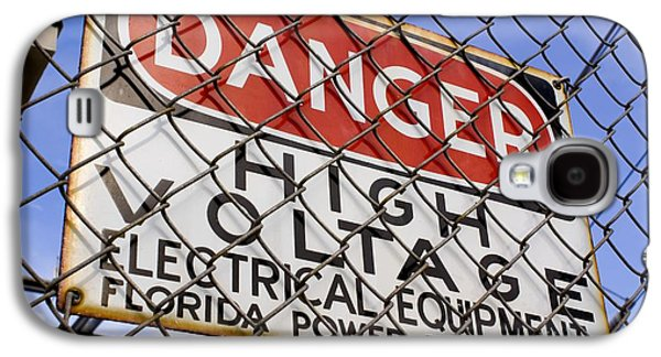Electrical Equipment Photographs Galaxy S4 Cases - Danger High Voltage Sign In Cocoa Galaxy S4 Case by Mark Williamson