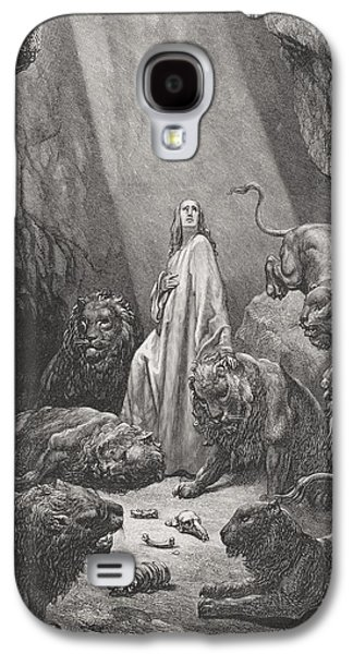 Religious Drawings Galaxy S4 Cases - Daniel in the Den of Lions Galaxy S4 Case by Gustave Dore